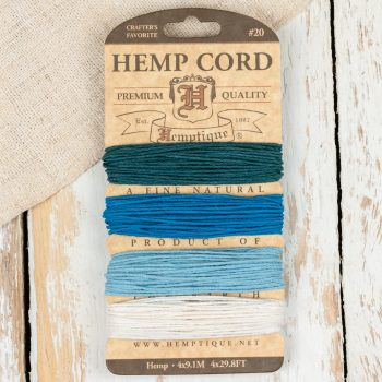Hemp Cord Sample Card shades of blue for macrame and beading