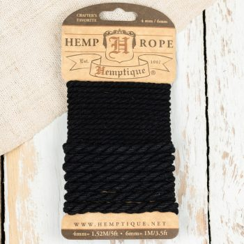Hemp Rope Black, 4mm / 6mm Sample card