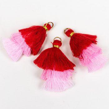 Mini Cotton Tassels,   Earring Charms,  Tassels for jewelry  3 pieces -TA52