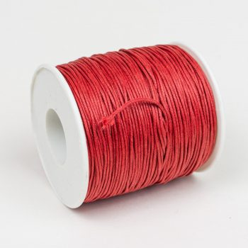 Waxed Cotton Cord  1mm, red   75 meter Spool