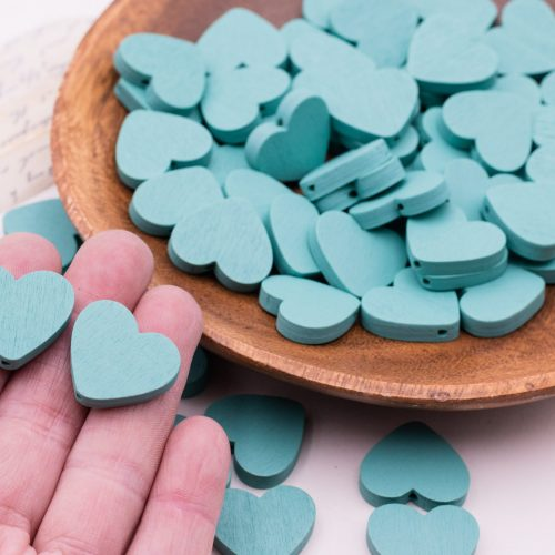 25  Wooden Heart Beads, heart charms, spacer beads,  23mm  painted turquoise  for  macrame, jewelry making   -B2756