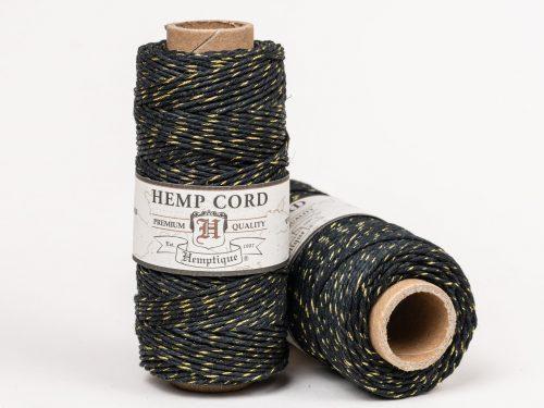 Black Gold Bakers Twine, Metallic Hemp Cord, 1mm 20lb, 205 feet spool