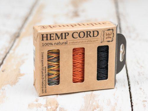 Hemp Cord   1mm, 3 Mini Spools,  Gift Box, Hemp Twine