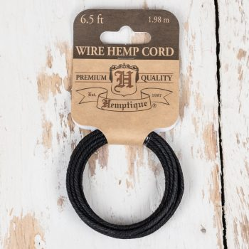 Metal Coil  wrapped in black hemp Cord, for jewelry making and crafts - 6.5 meter coil