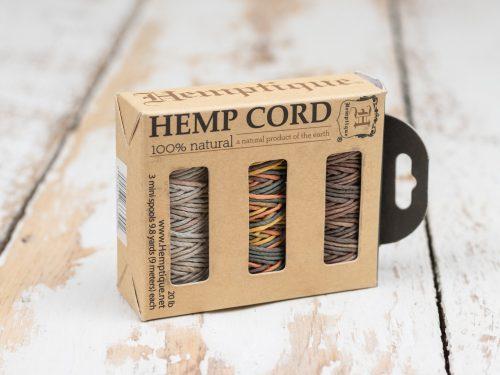 Natural Hemp Cord 1mm, Gift Box,  b - 3 mini spools