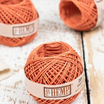 Orange Hemp Twine, 1 Mini Ball,   Hemp String 1mm