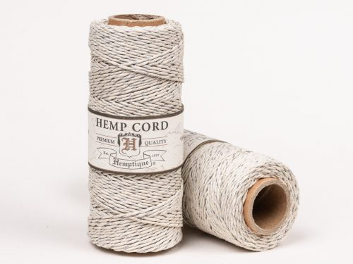 Silver Hemp Bakers Twine, Natural  Hemp String, 1mm 20lb, 205 feet spool
