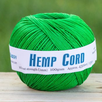 Green Macrame cord  1mm  Hemp Twine, soft hemp, eco friendly dye