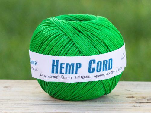 Green Macrame cord  1mm  Hemp Twine, soft hemp, eco friendly dye