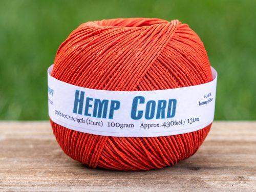 Hemp Cord   1mm, Burnt orange , 430 Feet Ball, macrame bead cord