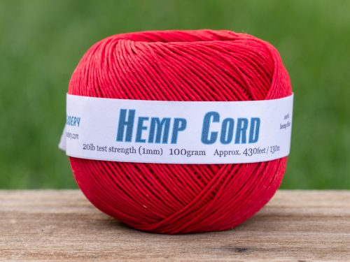 Hemp Cord Red,  1MM, 430 Feet,  macrame cord, Valentines day