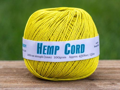 Hemp Cord Yellow, 1mm, 430 Feet, Macrame Cord, Yellow String