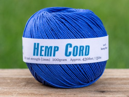 Hemp Twine 1mm,  Royal Blue bead cord,  430 Feet ball,  eco friendly dye