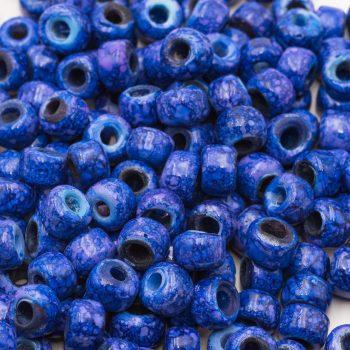 Marbled Glass Crow Beads, 50pcs,   9mm Pony large hole, blue macrame beads   -B2668