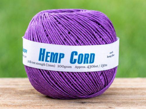 Purple Hemp Twine, Jewelry Cord  1mm, 430 Feet,   Dyed Hemp, eco friendly dye