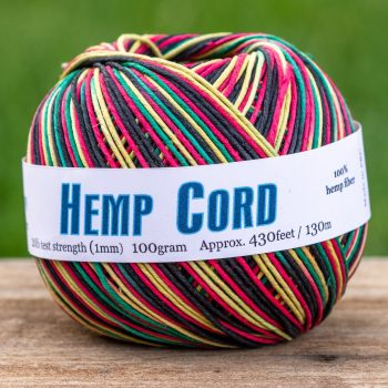 Rasta Hemp Twine, 1mm, 430 Feet,  Bead Cord, Hemp jewelry Supplies