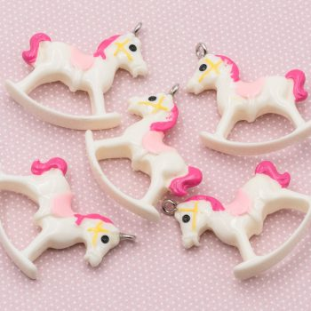 Rocking Horse Pendant, 5pcs, Resin Pendants  -B38