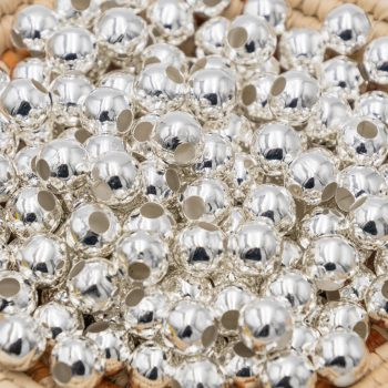 Metal Iron Ball beads, 40pcs, 10mm, 4mm Hole, Round Silver Spacer - B2321