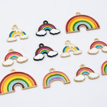 10   Rainbow Pendants, enamel charms, mixed style, size     alloy metal - C1173