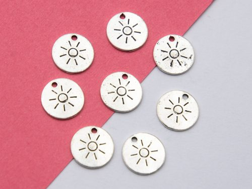 10 round Sun Charms, 12mm,  silver tone disc  -C1180