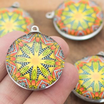 2  Mandala Glass Pendants, large round  30mm, Hemp Jewelry Pendants -P431