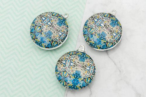 3 Round Glass  Pendants,   30mm,  mandala pattern -C1156