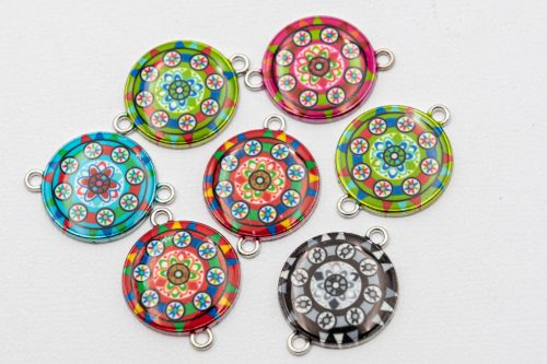 8 round mandala  Charms, 20mm,  silver tone, mixed colors   -C1173