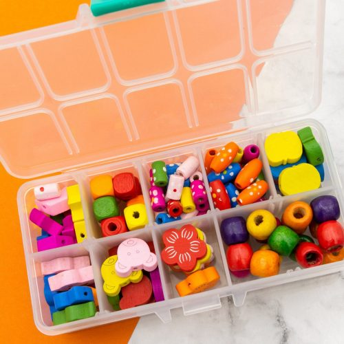 Bead Kit, Colored  Painted wood beads, Mixed Shapes sizes - 1 box -B2929