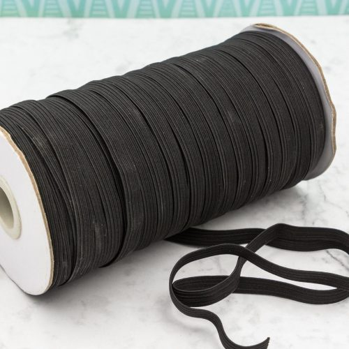 Black Flat Elastic 8mm, 3/8 inch, Mask Supplies, Stretchy Cord - Sold by the yard