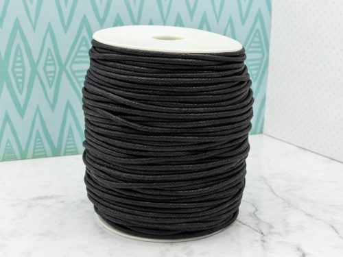 Black Waxed Cotton Cord 3mm, 100 Meters, Black Cord 3mm, Cord