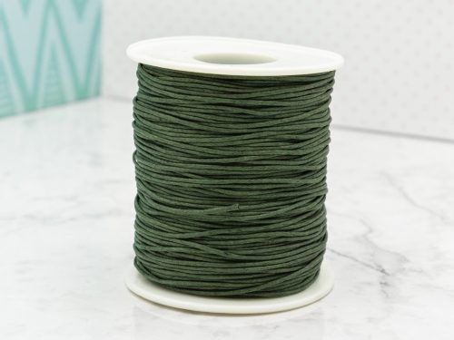 Dark Green Waxed Cotton Cord  1mm,   macrame cord, 100 yards
