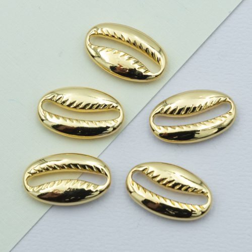 Gold Shell Charms, 5 pieces,   18-20mm, metal beads - B2272