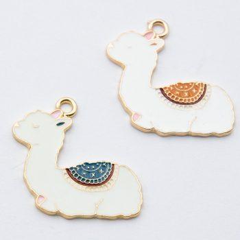 Lama Pendants, enamel charms, 2 pieces,  25mm,  alloy metal - C1177