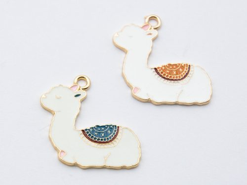 Lama Pendants, enamel charms, 2 pieces,  25mm,  alloy metal - C1177
