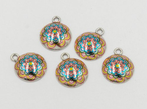 Mandala Charms, 5 pieces,   14mm,  alloy metal - C1172