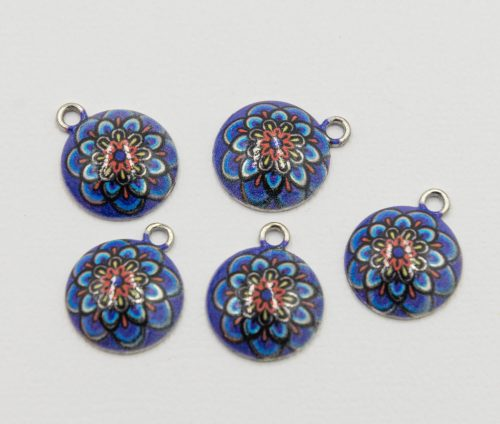 Mandala Charms, 5 pieces,   14mm,  alloy metal - C1176