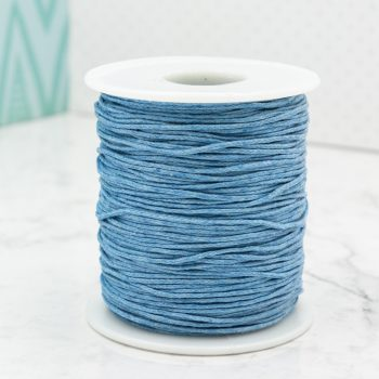 Waxed  Cord  1mm,   macrame cord, 100 yards, Sky Blue