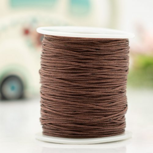 Waxed Cotton Cord  1mm, brown 100 yards