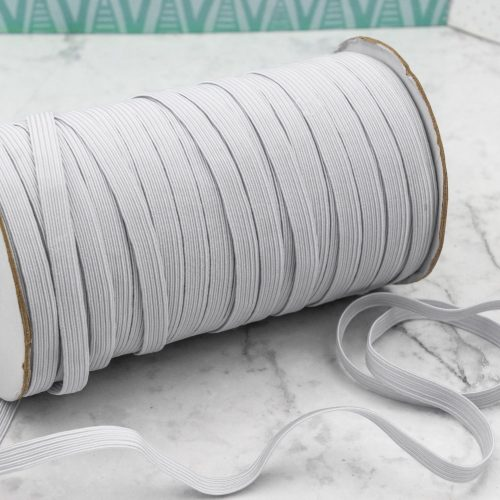 White Flat Elastic 8mm, Mask Supply, Stretchy Cord - Sold by the yard