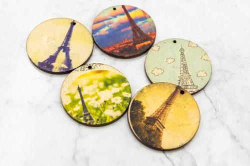 Wood Disc Pendant, round 2 inch diameter,  5 pieces -B2939