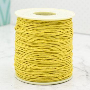 Yellow Wax Cotton Cord  1mm,   macrame cord, 100 yards