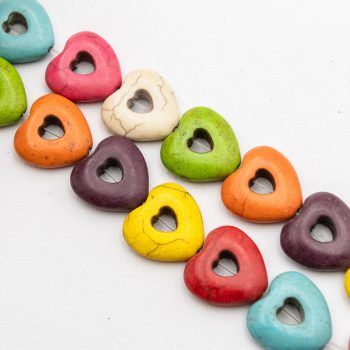 1 Strand Howlite Heart Beads, 15mm, dyed stone beads -B3014