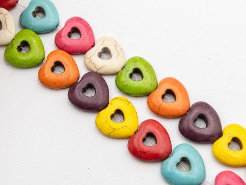 1 Strand Howlite Heart Beads, 15mm, dyed stone beads -B3014