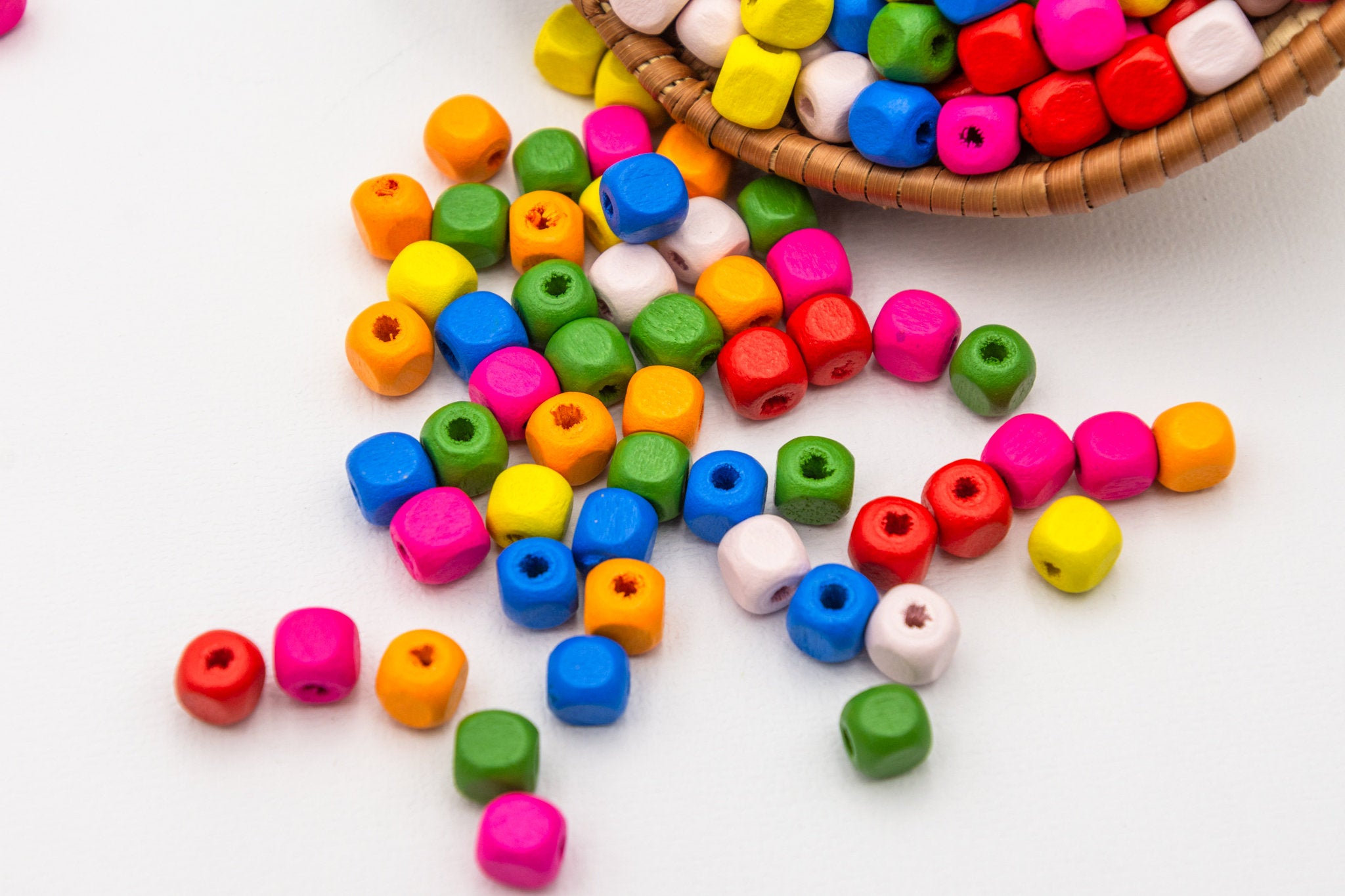 100 Wood  Cube  Beads 7mm, 3mm hole, mixed colors -B2974