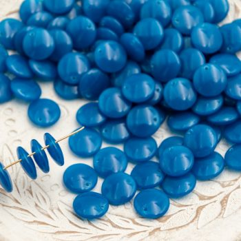 50 Flat Round Blue Glass  Beads, Charms,  12mm  - B2849