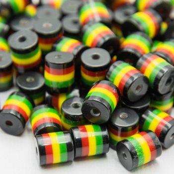 50 Rasta Tube Beads, Red Yellow Green,   acrylic striped 1mm hole,  Hemp Jewelry beads  -B2098