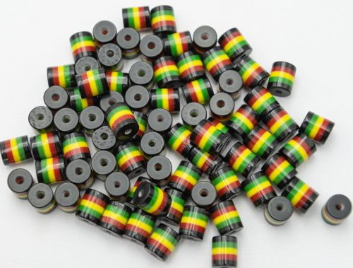 50 Rasta Tube Beads, Red Yellow Green,   acrylic striped 1mm hole,  Hemp Jewelry beads  -B2098
