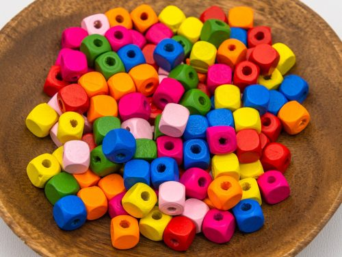75 Wood  Cube  Beads 10mm, 3mm hole, mixed colors -B2973