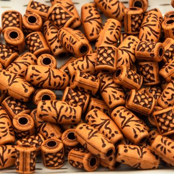 Acrylic Tube Beads, 30pcs, Mixed Styles,   Spacer Beads,  Orangey Brown  -B2937