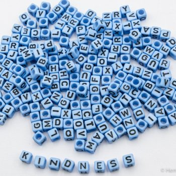 Blue Letter Beads 5mm,  cube,  Mixed  Alphabet,   110 pieces   -B3018